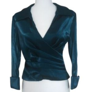 Cachet Teal Shimmer Faux Wrap Evening Top 8